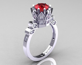 Classic Armenian 14K White Gold 1.0 Rubies Diamond Bridal Solitaire Ring R405-14KWGDR