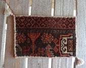 Ottoman Turkish Hand Woven  Tribal  Bag   w tassles 11 x 16   brown black rust - oldhorizons
