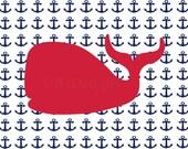 Red and Navy Nursery, Nautical Nursery Decor, Whale Nursery Art, Nautical Bedroom Decor, Anchor Nursery Decor - 8x10