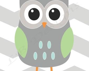 Gray and Green Nursery, Chevron Nursery Decor, Owl Nursery Print, Woodland Nursery Decor - 8x10