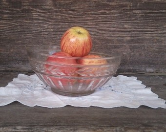 Antique Early Victorian Clear Glass Nappy Bowl - Vintage Decorative Serving Dish + Candy Bowl, Extremely Old Pressed Glass, Antique Gift