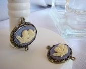Angel Cameo - Light Blue - Antiqued Brass