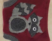 Raccoon Applique Recycled Wool Sweater Burgundy Soaker Cloth Diaper Cover