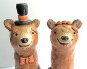 Brown Bears in Love Rustic wedding cake topper