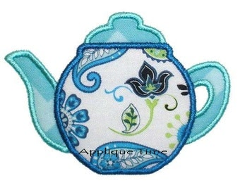 Instant Download Tea Pot Machine Embroidery Applique Design 4x4, 5x7 and 6x10