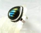 Handmade Sterling Rainbow Blue Striped Labradorite Ring adjustable size, ooak