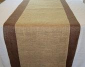 """Rustic Burlap Table Runner Chocolate Brown 23"""" x 108"""""""