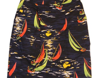Red, Green Sailing Patterned Straight Fitted Skirt with Front Pockets - Size UK10. Ships from USA