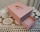 Rose Pink with Yellow Daisy and Pink Ribbon Decoupage Decorated Wooden Keepsake Trinket Jewelry Box