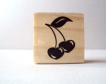 Cherry Hearts Wooden Mounted Rubber Stamping Block DIY cards, scrapbooking, tags, and Greeting Cards