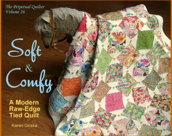 Easy Quilt Pattern, Soft & Comfy Quilt Pattern, Raw-Edge Applique Pattern, Tied Quilt, Baby/Lap Quilt,  PDF Pattern, qtm