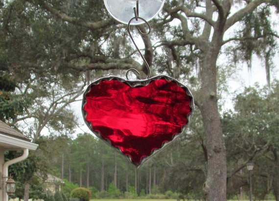 "Scarlet Red Waterglass Heart with Scrolled Wire Hanger & Decorative Scalloped Foil Border- Finished Size 3"" x 3.75"""