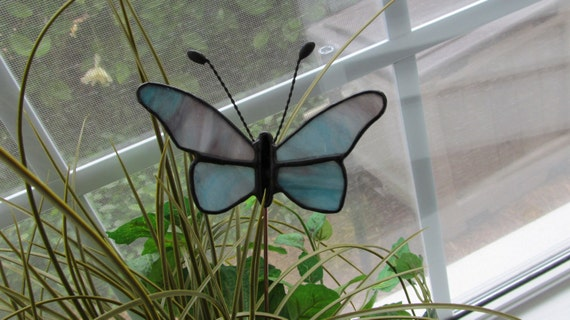 """Blue/Purple/Pink Textured Glass Stained Glass Butterfly Plant Stake 5"""" x 3.5"""" on 12"""" Copper Rod"""