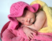 Newborn Crocheted Photo Prop Pink Girl Sun Hat - IN STOCK