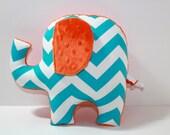 Turquoise blue orange nursery baby decor,  modern chevron elephant pillow, stuffed plushie sensory toy, shower gift