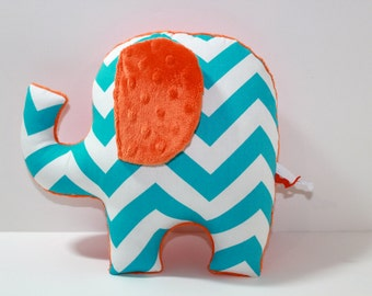 Turquoise blue orange nursery baby decor,  modern chevron elephant pillow, stuffed plushie sensory toy, shower gift