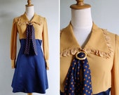 Vintage 60's Polka Dot Pussy Bow Collar Mustard & Navy Dress XS or S