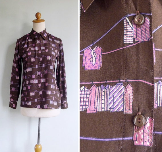 Vintage 80's Hanging Blouse Print Button Collared Shirt Top XS or S