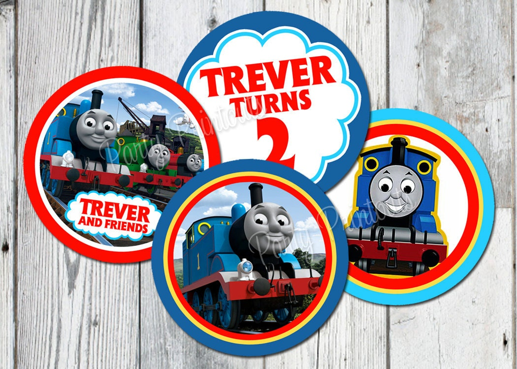 This is a picture of Nerdy Free Printable Thomas the Train Cup Cake Toppers