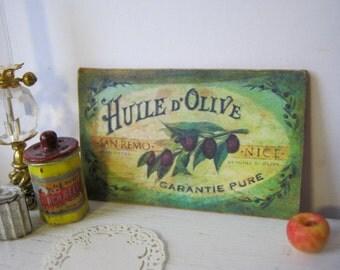 Vintage Olive Sign for Dollhouse