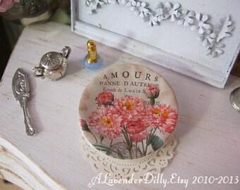 Vintage Carnation Plate for Dollhouse