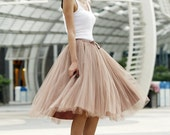 Tulle Skirt Tea length Tutu Skirt Elastic Waist tulle tutu Princess Skirt Wedding Skirt in Nude Color- NC455