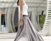 Romantic Boho Maxi Skirt Long Linen Skirt in Grey - NC456