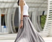 Romantic Boho Maxi Skirt Long Linen Skirt in Grey - NC456