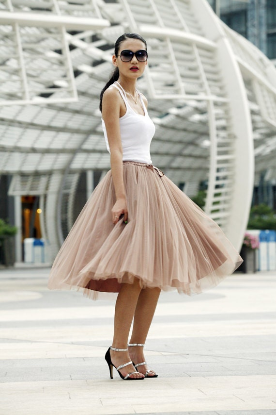 Tulle Skirt Tea length Tutu Skirt Elastic Waist tulle tutu Princess Skirt Wedding Skirt in Nude Color- NC455