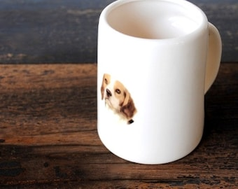 Bassett Hound Dog Beer Mug, Father's Day Tankard, Large Vintage White Ceramic Pencil Holder