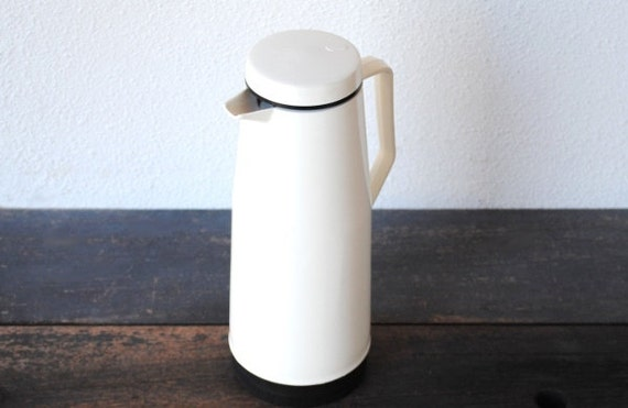 Vintage Industrial White Thermos Coffee Pitcher, Huge Hot Cold Portable Workers Insulated Beverage Server