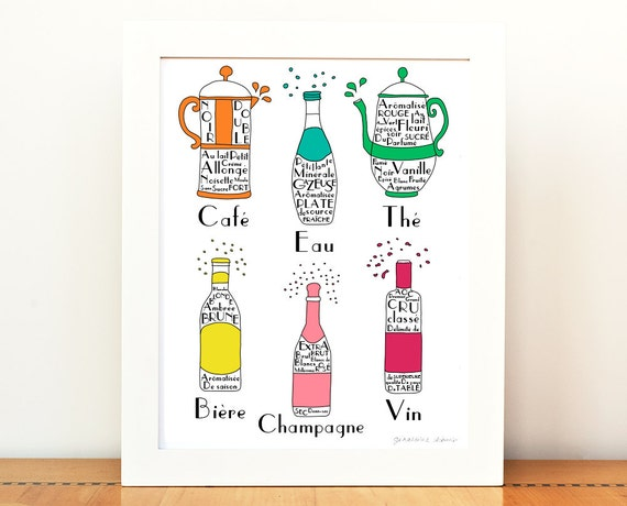Kitchen art french drinks 8x10 art print poster french alcohol for French kitchen artwork