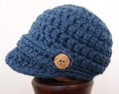 Boy Newsboy Hat with Buttons- Denim