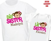 Monkey Big Sister Shirt & Monkey Little Sister Shirt or Bodysuit - 2 Personalized Sibling Shirt