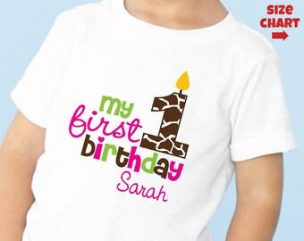Giraffe 1st Birthday Shirt or Bodysuit Personalized - Monogram Zoo First Birthday shirt - Jungle Birthday Shirt