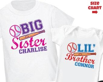 Baseball Big Sister Shirt & Baseball Little Brother Shirt or bodysuit - 2 Personalized Baseball Sibling Shirts