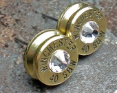 40 Smith Wesson Winchester Brass Bullet Head Earrings Your Choice of Birthstone Swarovski Crystal