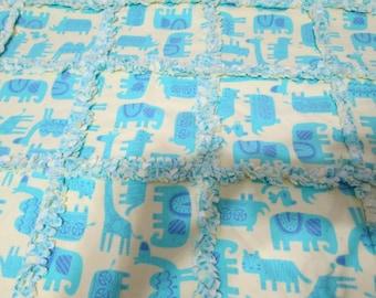 Pastel Yelllow and Aqua Safari Rag Quilt