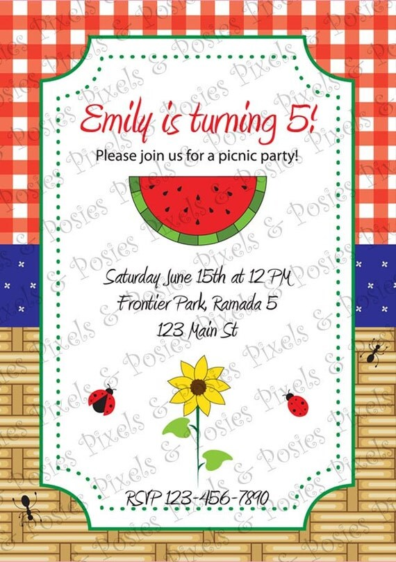 Custom Printable Invitation - Print Your Own Picnic - Barbecue - BBQ - 4th of July - Birthday or Theme Party