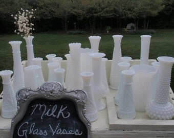 CLEARANCE- 20 MILK GLASS vases for 90.00 Dollars