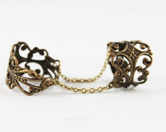 Adjustable Ring, Brass  Filigree Knuckle Ring, Double Ring, Slave Ring
