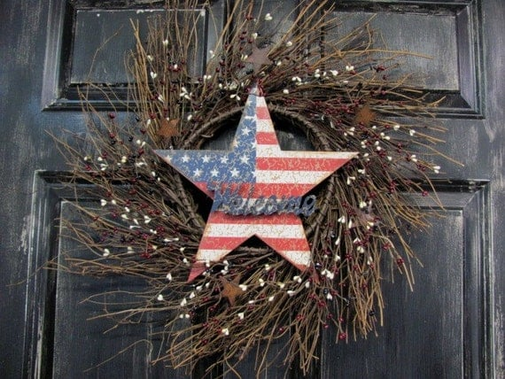 Americana Patriotic Home Decor Americana Wreath by