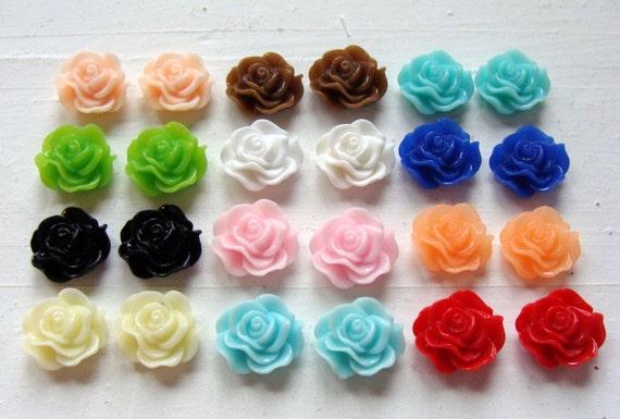 Rose Resin Flower Cabachon Assorted Color Set