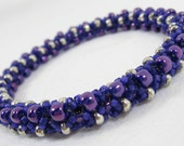 Beaded Fexlible Bracelet Bangle Violet Royal Purple Silver Custom Color Size