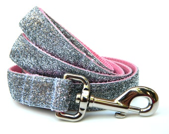 "Silver Glitter Dog Leash 1"" Bling Dog Leash"
