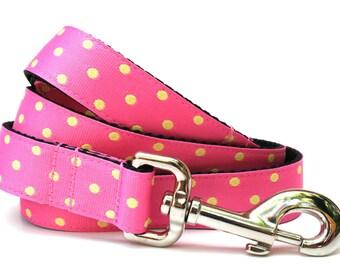 """Polka Dot Dog Leash 1"""" Pink and Yellow Dog Leash"""