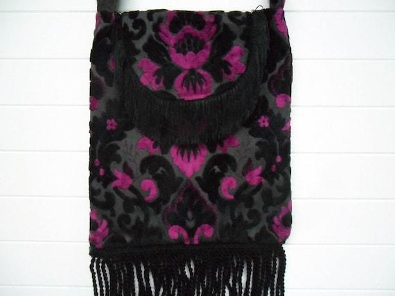 Gothic Bohemian Bag Purse Cut Velvet Black Dark Pink