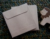 Set of 100 -- Square Brown Kraft Paper Open End Envelopes (size 3 3/4 x 3 3/4 inch or 9.5 x 9.5 cm.)