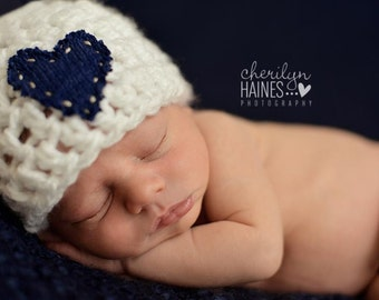 Newborn Boy Chunky Beanie Heart Hat - Newborn - Ready to Ship
