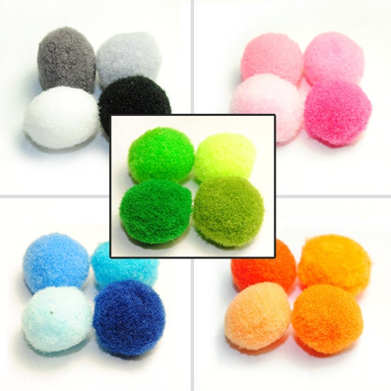 100pcs Rainbow Mixed Pom Poms Mix Pompoms Beads Ball Baby Party Craft Supply Art - Scrapbooking DIY Ribbon Bow supplies